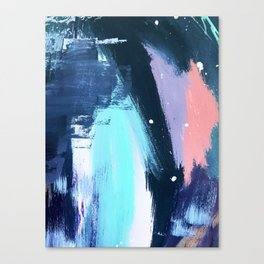 Playful [3]: a bold abstract piece in vibrant blues, pink, purple and white Canvas Print