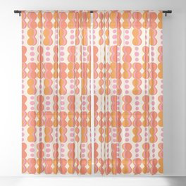 Uende Sixties - Geometric and bold retro shapes Sheer Curtain