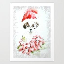A Shih Tzu Christmas Art Print