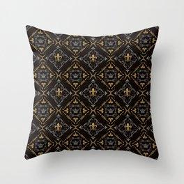 Fleur de Lis & Crown Pattern Throw Pillow