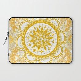 Orange Kaleidoscope Patterned Mandala Laptop Sleeve