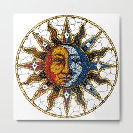 Celestial Mosaic Sun and Moon COASTER Metal Print