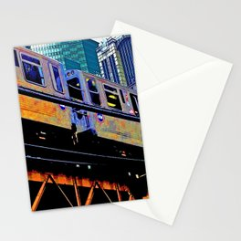 Chicago 'L' in multi color: Chicago photography - Chicago Elevated train Stationery Cards
