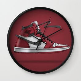 Sneaker Art Air Jordan 1 Red/ Black Wall Clock