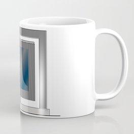 Escultura Cubo virtual azul y negro con progresión amarilla Coffee Mug