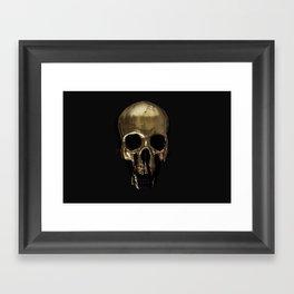 Gold Dripping Skull Framed Art Print