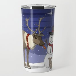 Santa's Reindeer Giving Snowman's Carrot Nose To Bunny Travel Mug