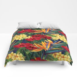 Tropical Paradise Hawaiian Floral Illustration Comforters