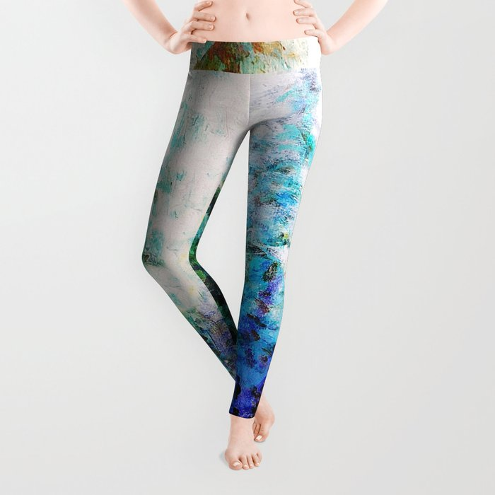 Mountain Landscape Pines In Blue-Greens-Purple Leggings