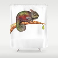 chameleon Shower Curtains featuring Chameleon by Lena Lilen
