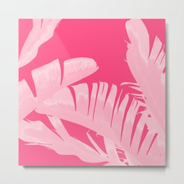 Chill Pink Tropical Banana Leaves Design Metal Print