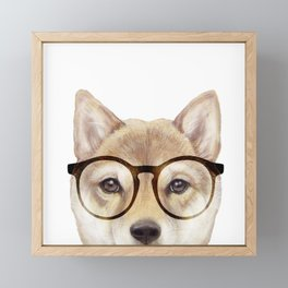 Shiba inu with glasses Dog illustration original painting print Framed Mini Art Print