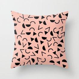 Memphis 80's Design Black and Pink Throw Pillow