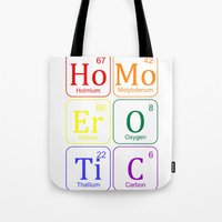 erotic Tote Bags featuring HOMO EROTIC  by SLANTEDmind.com