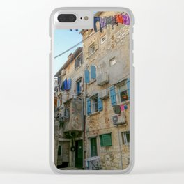 Little alley in the medieval center of the village Rovinji at sunset Clear iPhone Case