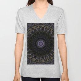 Mandala in violet, brown and black colors Unisex V-Neck