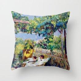 Joaquin Sorolla y Bastida - Nap in the Garden 1904 Throw Pillow