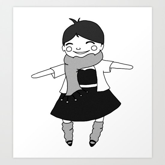 Black and White: Joy and Good Cheer Art Print