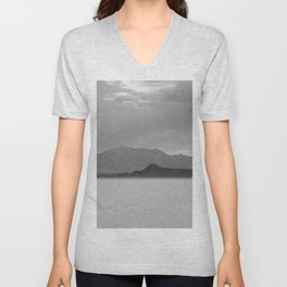 Monochrome Mountains at Bonneville Salt Flats Unisex V-Neck