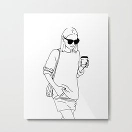Woman with Coffee Metal Print