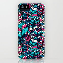 Bohemian Boho Chic Hippie Teal Feathers Design Pattern iPhone Case