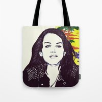 ultraviolence Tote Bags featuring THE ULTRAVIOLENCE GIRL by Robert Red ART