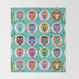 funny colored owls on a turquoise background Throw Blanket