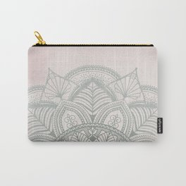 Blush Pink and Mint Mandala Carry-All Pouch