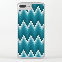 Teal Blue Chevron Zigzag Stripes Pattern Clear iPhone Case