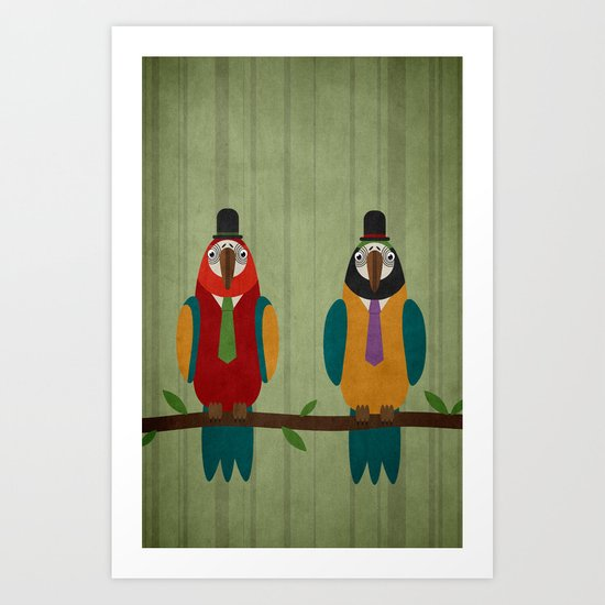 Suited parrots Art Print