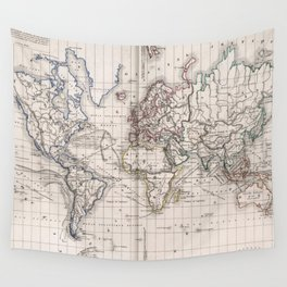Vintage Map of The World (1856) Wall Tapestry