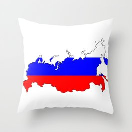 Russia Map with Russian Flag Throw Pillow