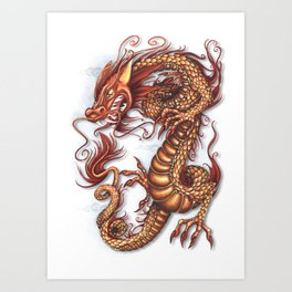 Fire - Asian Celestial Dragon Art Print