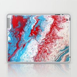 Marble Red Blue Paint Splatter Abstract Painting by Jodilynpaintings Red Laptop & iPad Skin