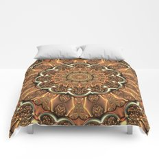 Molten Copper Mandala Comforters