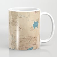 middle earth Mugs featuring Map of Middle Earth by Kaz Palladino & Awkward Affections