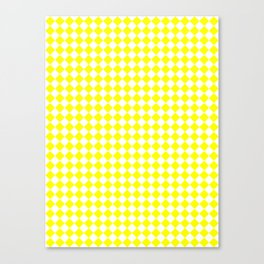 Small Diamonds - White and Yellow Canvas Print