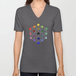 Colour cube (black point) from the Manual of the science of colour by W. Benson, 1871, Remake Unisex V-Neck