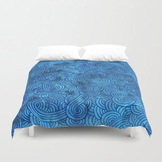 Turquoise blue swirls zentangle Duvet Cover