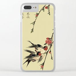Moon Swallows and Peach Blossoms Clear iPhone Case