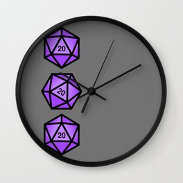 Purple d20 Wall Clock
