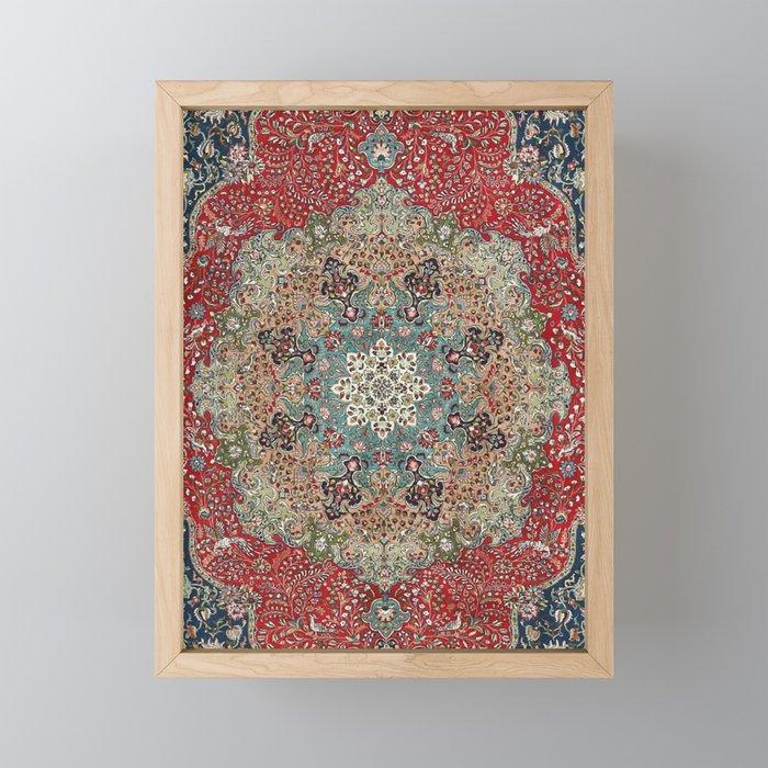 Antique Red Blue Black Persian Carpet Print Framed Mini Art Print