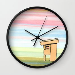 Pink Stripes Sunset Sky with House 78 Wall Clock