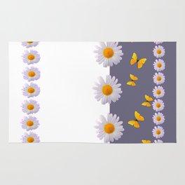 WHITE DAISIES & SPRING BUTTERFLIES & WHITE-GREY ART Rug