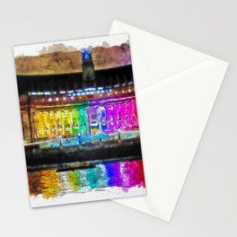 Aquarelle sketch art. Illuminated County Hall building in London at night Stationery Cards