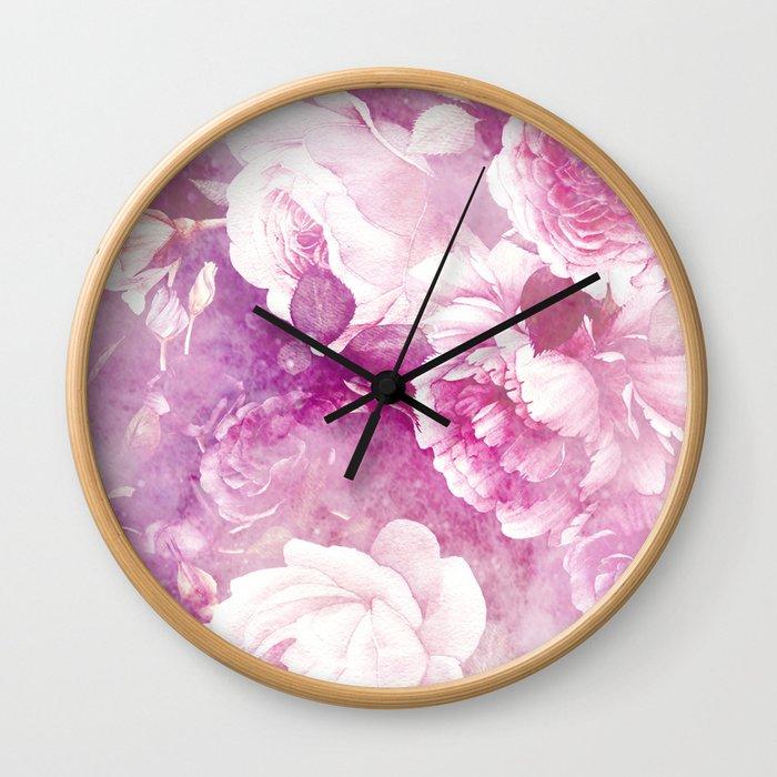 rose garden in purple Wall Clock