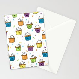 Cute Happy Fun Cupcakes with white background Stationery Cards