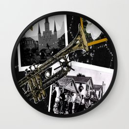 Classic New Orleans Black & white vintage collage Wall Clock
