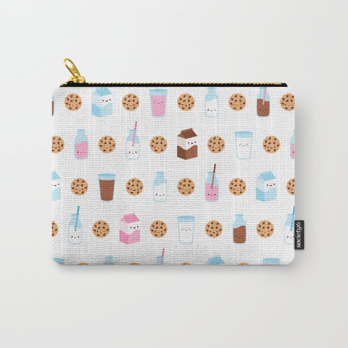 Milk and Cookies Pattern on White Carry-All Pouch