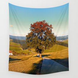 Roadside tree in indian summer colors   landscape photography Wall Tapestry